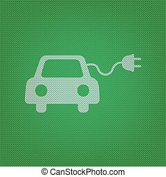 Eco electric car sign. white icon on the green knitwear or...