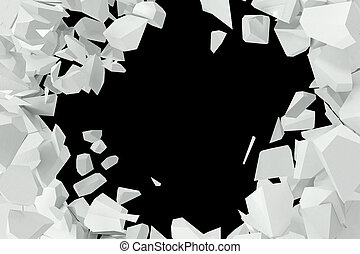 Cracked, destruction of a white wall, template for a...