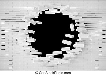Destruction of a white brick wall for pasting anything text....