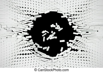 Destruction of a white wall with blank text. 3d...