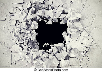 3d rendering, explosion, broken concrete wall, bullet hole,...