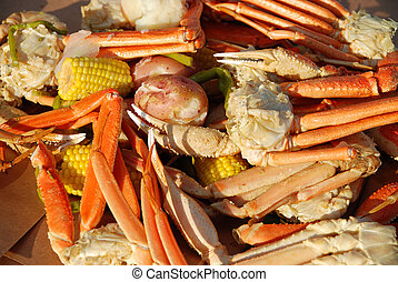 Crab leg picnic - Crayfish and opilio crab legs with hearty...