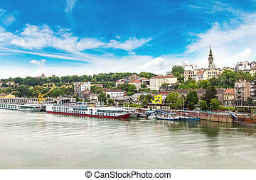 Belgrade cityscape from the Sava river in Serbia in a...