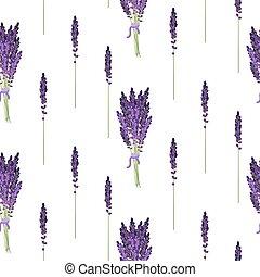 Lavender seamless pattern. Provence violet bouquet bush. -...