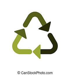 green recycling symbol shape with arrows