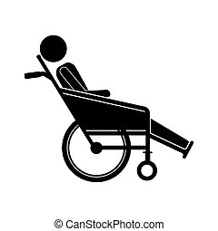 person sitting in reclining wheelchair flat icon vector...