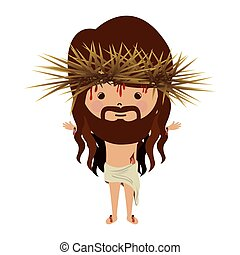avatar jesus christ with crown thorns and bood vector...