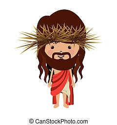 avatar jesus christ with stole and crown thorns vector...