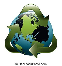 earth world map with recycling symbol