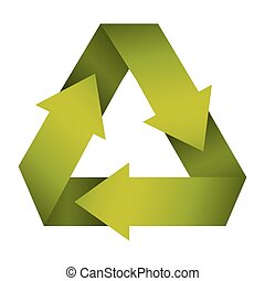 green recycling symbol shape with gradient
