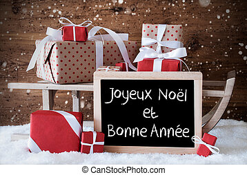 Sleigh With Gifts, Snow, Snowflakes, Bonne Annee Means New...