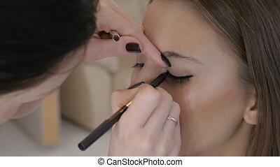 Professional makeup artist applies makeup to a beautiful model.
