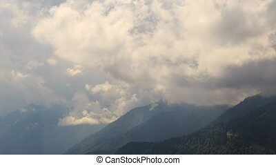 Dense clouds of. Krasnaya Polyana. Zoom. Time Lapse. Sochi,...