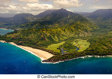 Aerial landscape view of shoreline at Na Pali coast, Kauai,...