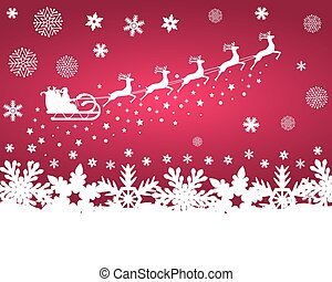 Santa Claus in sled rides in the reindeer on a purple backg...