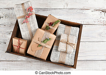 Christmas Presents in Wood Box