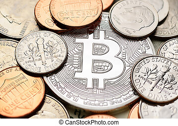 Silver Bitcoin and cents - Silver Bitcoin with different US...