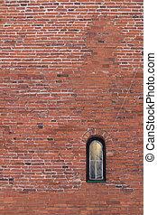 parede, Janela, fundo, pequeno, tijolo, vermelho