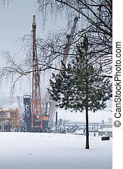 Industrial port cranes in Russia