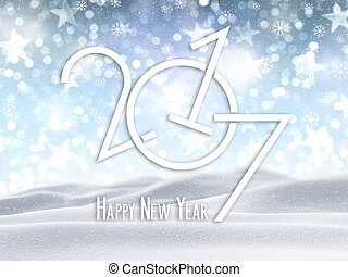 3D Happy New Year background with snowy landscape - 3D...