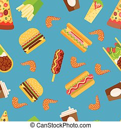 Vector fast food seamless pattern background isolated