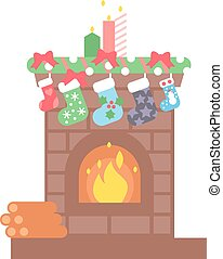 Set of vector fireplace icons. - Fireplace christmas icon...