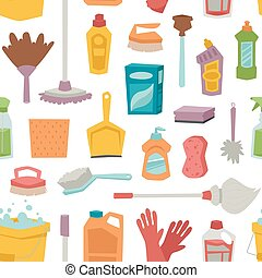 House cleaning tools seamless pattern and cleaning products...