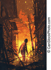 zombie looking back with burning city...