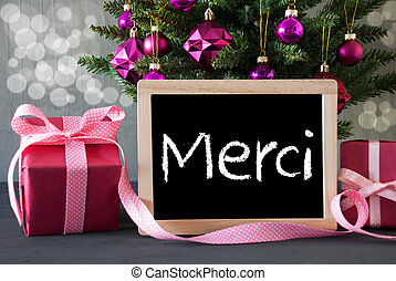 Tree With Gifts, Bokeh, Text Merci Means Thank You -...