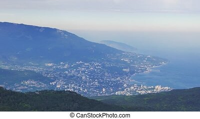 Panorama of Yalta coast from Mount Ai-Petri. Crimea. UltraHD...