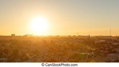 Sunset over the city of Karaganda. Kazakhstan. TimeLapse.
