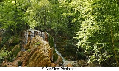 Small Canyon of Crimea, waterfall Silver stream. UltraHD...