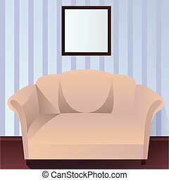 Interior with couch - Vector interior with couch