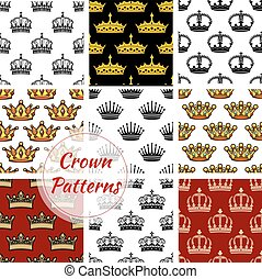 Royal king crown patterns set