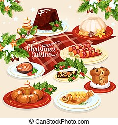 Christmas food icon with meat, fish, pastry dishes -...