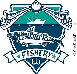 Fishery icon. Fishing sport club sign - Fishing icon....