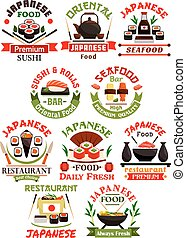 Japanese cuisine restaurant signs set - Japanese cuisine...