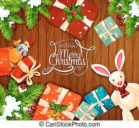Christmas gift on wooden background greeting card