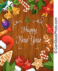 Happy New Year best wishes poster - Happy New Year greeting...