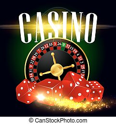 Casino wheel of fortune vector poster - Casino poster of...