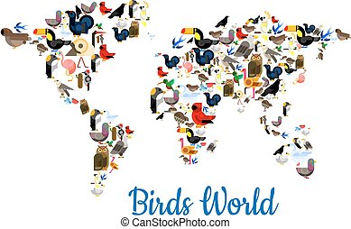 Birds vectror world map with continents - Birds world poster...