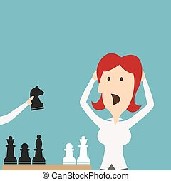 Business defeat. Woman shocked defeated in chess - Woman...