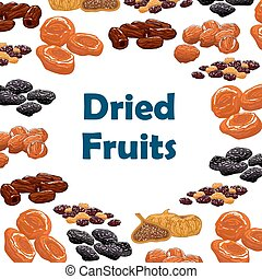 Dried fruits snacks vector poster - Dried fruits. Vector...
