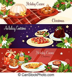 Christmas dinner dishes with holly and gift banner -...
