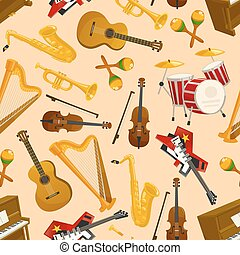 Musical instruments vector seamless pattern