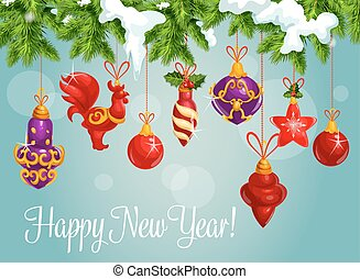 Holiday bauble balls on pine branch - New Year bauble balls...