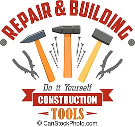 Repair, building, construction tools vector sign
