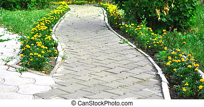 foot path with flowers through bushes in a garden