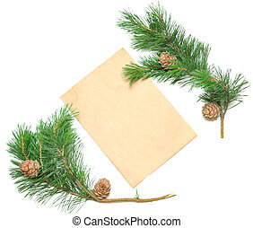 brown envelope for letters with pine branch