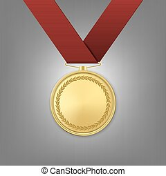Vector realistic golden award medal with red ribbon.